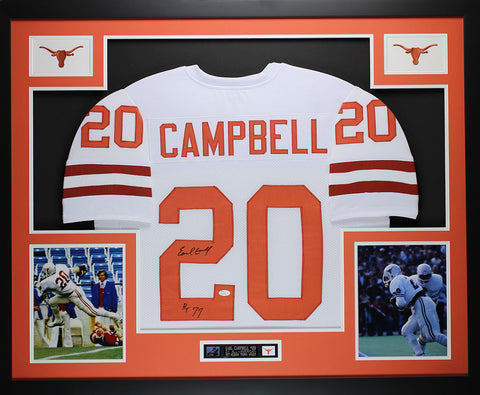 Earl Campbell Autographed HT 77 and Framed White Longhorns Jersey JSA COA D13-L