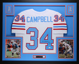 Earl Campbell Autographed HOF 91 and Framed White Oilers Jersey JSA Certified