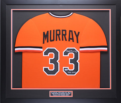 Eddie Murray Autographed HOF 2003 & Framed Orange Orioles Jersey Beckett COA