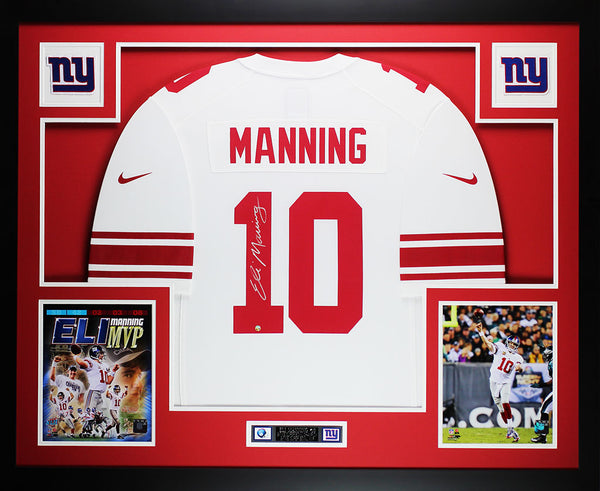 Eli Manning Autographed & Framed White Nike Giants Jersey Auto Steiner COA D4-L