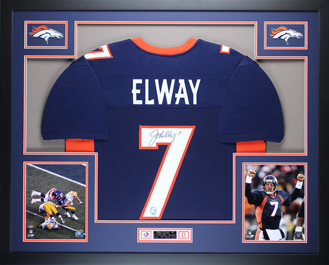 John Elway Autographed and Framed Blue Broncos Jersey Auto JSA Certified