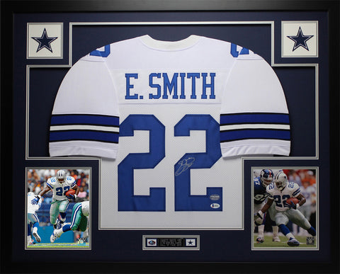 Emmitt Smith Autographed & Framed White Cowboys Jersey Auto Beckett COA D13-L
