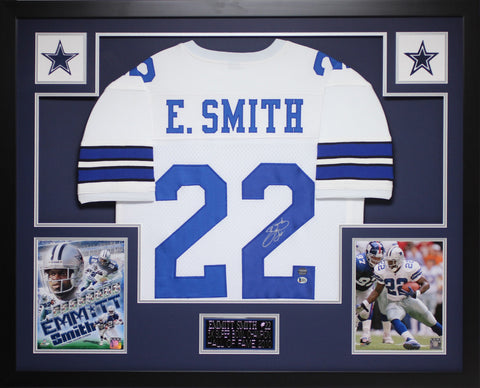Emmitt Smith Autographed & Framed White Cowboys Jersey Auto Beckett COA D15-L