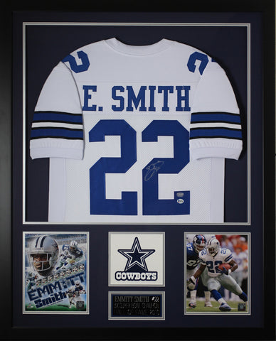 Emmitt Smith Autographed & Framed White Cowboys Jersey Auto Beckett COA D2-V