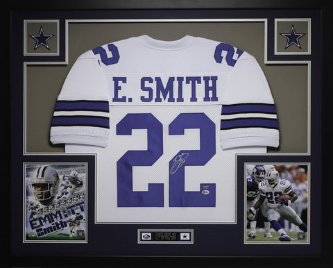 Emmitt Smith Autographed & Framed White Cowboys Jersey Auto Beckett COA D14-L