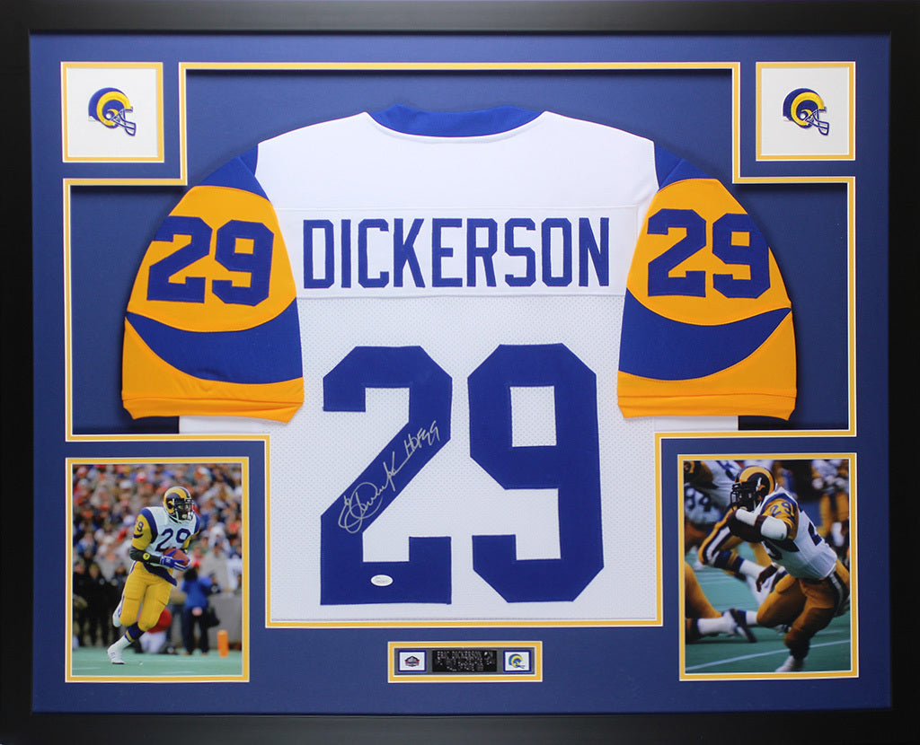 reputable site dcdb0 8c5b0 Eric Dickerson Autographed and Framed White Rams Jersey Auto JSA COA D4-L