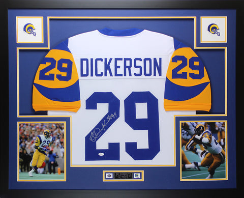 Eric Dickerson Autographed and Framed White Rams Jersey Auto JSA COA D4-L