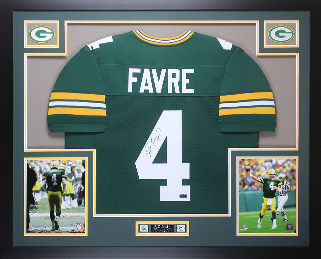 new products 86f54 a59dd Brett Favre Autographed and Framed Green Packers Jersey Auto Favre COA D10-L