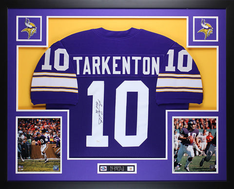 Fran Tarkenton Autographed Signed HOF 86 and Framed Purple Vikings Jersey Auto JSA Certified