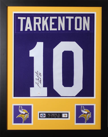 Fran Tarkenton Autographed and Framed Purple Vikings Jersey JSA Certified