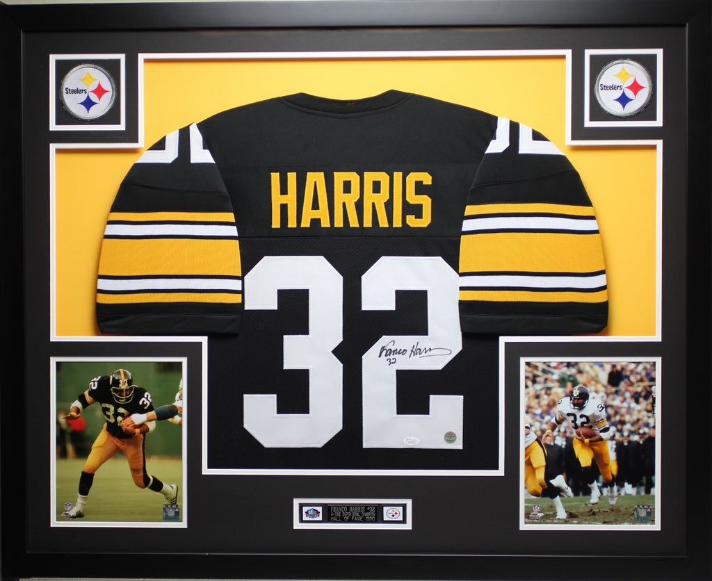 newest 88d25 b9b73 Franco Harris Autographed Signed and Framed Black Steelers Jersey Auto JSA  Certified
