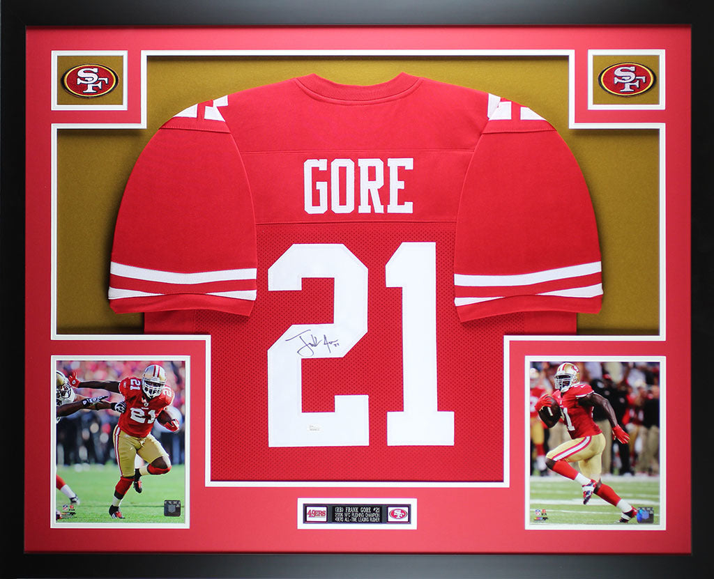 promo code 651c5 5cc48 Frank Gore Autographed and Framed Red 49ers Jersey Auto JSA COA (D1-L)