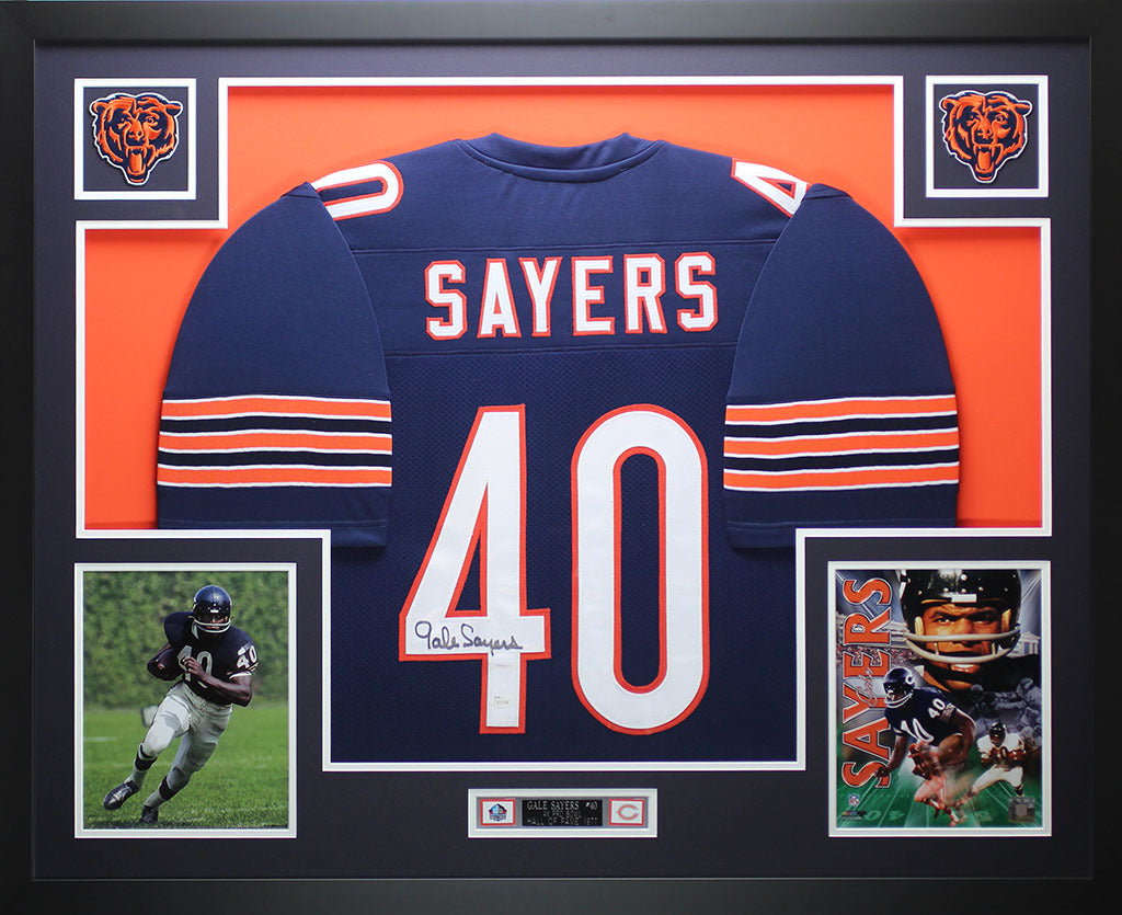 eb5fff38f02 Gale Sayers Autographed and Framed Blue Bears Jersey JSA COA D7-L – Super  Sports Center