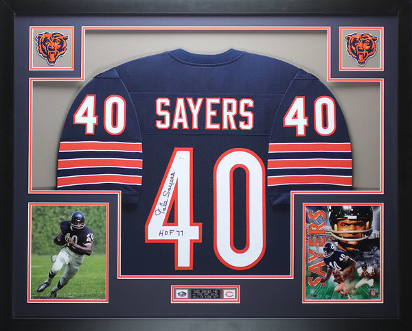 Gale Sayers Autographed HOF 77 and Framed Navy Bears Jersey Auto JSA Certified (FM)