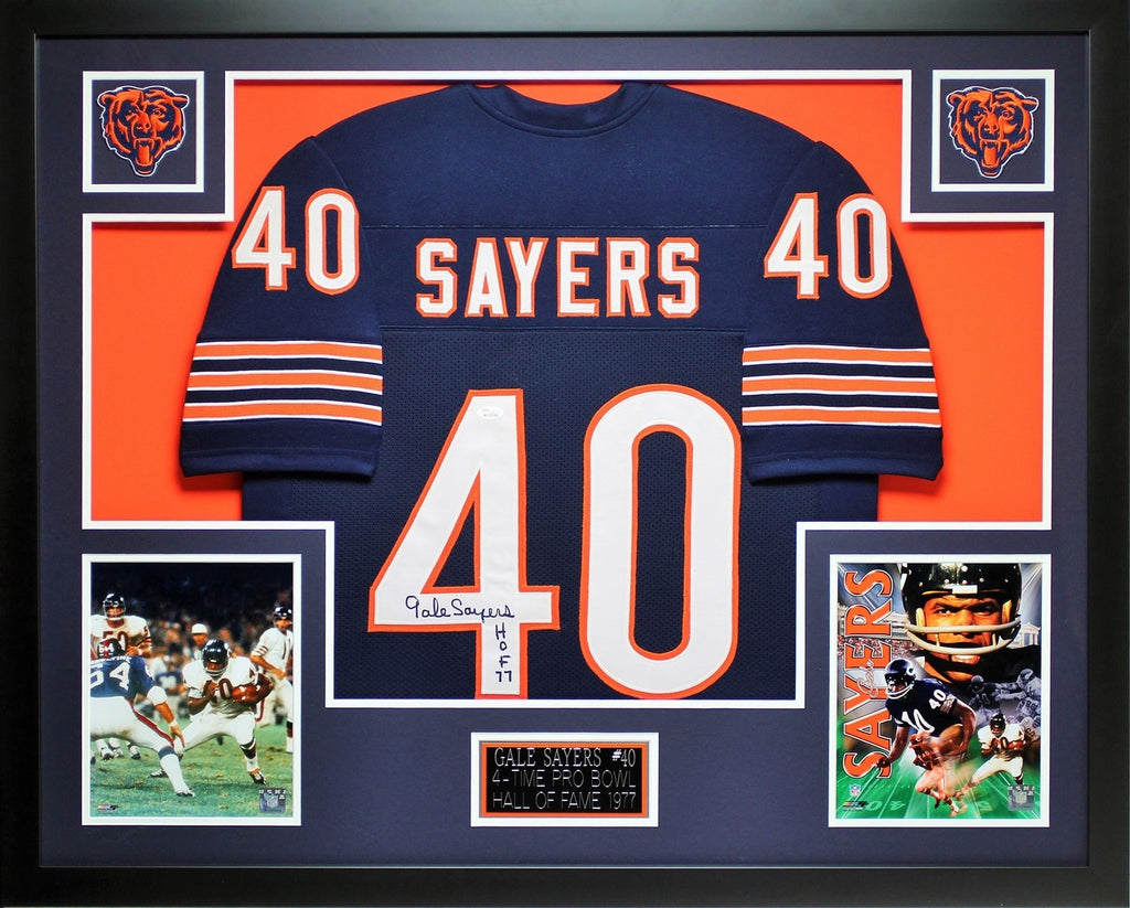 226547038 Gale Sayers Autographed HOF 77 and Framed Navy Bears Jersey JSA COA – Super  Sports Center