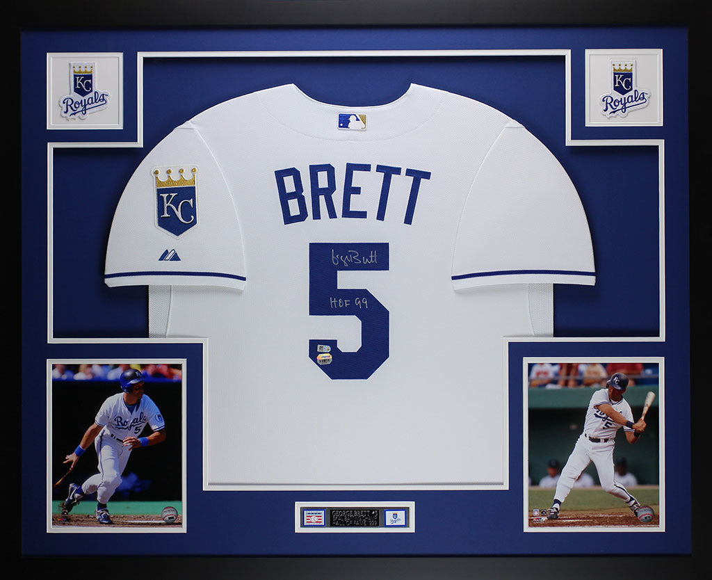 7a4a4a642e6 George Brett Autographed HOF 99 and Framed White Royals Jersey Fanatic –  Super Sports Center