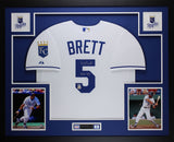 George Brett Autographed HOF 99 and Framed White Royals Jersey Fanatics COA D4L
