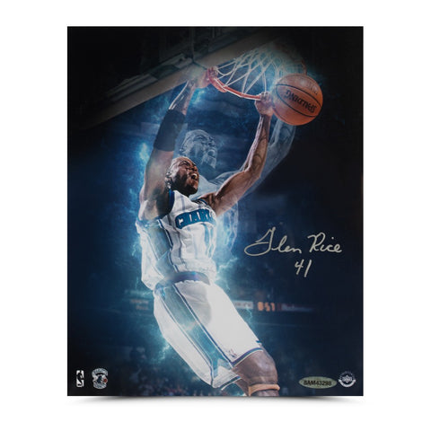 "Glen Rice Autographed ""Slam Dunk"" 8 x 10"