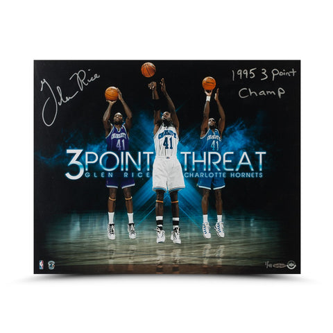 "Glen Rice Autographed & Inscribed ""Three Point Threat"" 16 x 20"