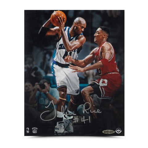 "Glen Rice Autographed ""Offense vs. Defense"" 8 x 10"