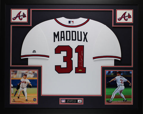 Greg Maddux Autographed and Framed White Braves Jersey Auto Tristar COA (D2-L)