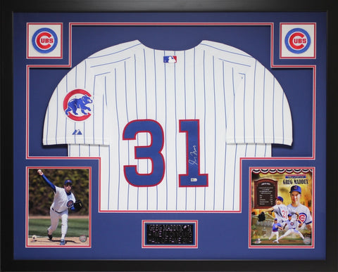 Greg Maddux Autographed and Framed White Cubs Jersey Auto MLB Certified