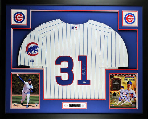 Greg Maddux Autographed and Framed White P/S/ Cubs Jersey Auto MLB COA