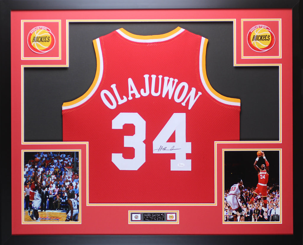 46bedde0 Hakeem Olajuwon Autographed and Framed Red Rockets Jersey Auto JSA COA –  Super Sports Center