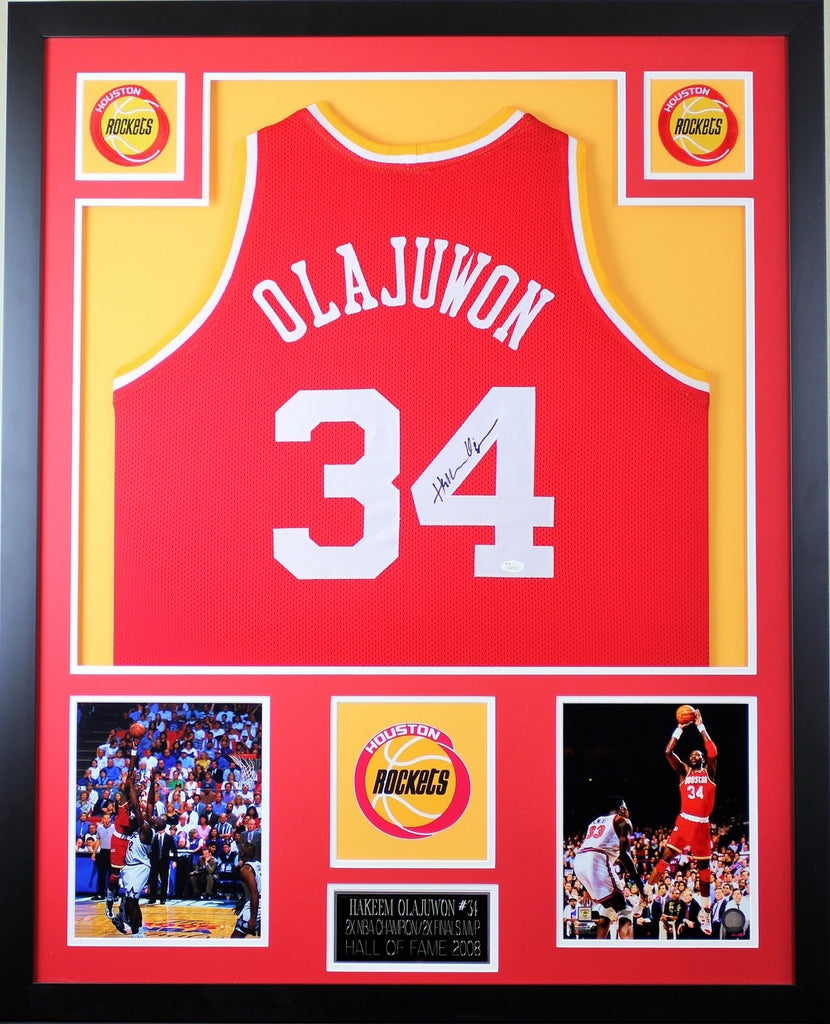 sports shoes 36835 9784b Hakeem Olajuwon Autographed and Framed Red Rockets Jersey JSA COA (D1-V)