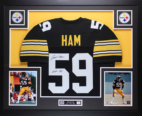 "Jack Ham Autographed ""HOF 88"" and Framed Black Steelers Jersey Auto JSA Certified"
