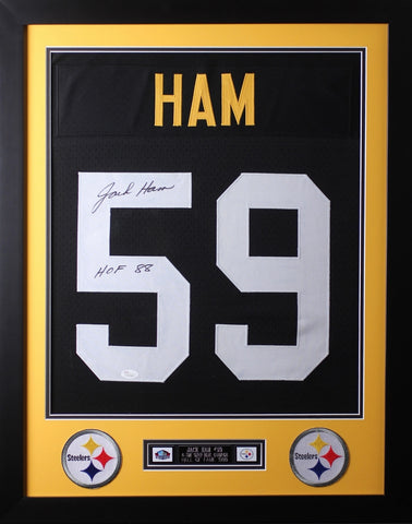 Jack Ham Framed and Autographed HOF 88 Black Steelers Jersey Auto JSA Certified