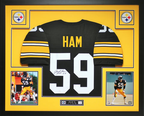 Jack Ham Autographed HOF 88 and Framed Black Steelers Jersey Auto JSA Cert