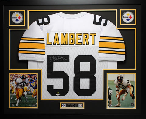 "Jack Lambert Autographed ""HOF 90"" and Framed White Steelers Jersey Auto JSA Certified"