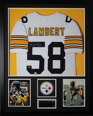 Jack Lambert Autographed HOF 90 and Framed White Steelers Jersey JSA Certified