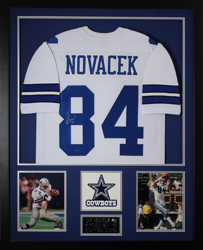 on sale bcb9d 562c9 Jay Novacek Autographed and Framed White Cowboys Jersey Auto GTSM Certified