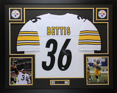 Jerome Bettis Autographed and Framed White Steelers Jersey Auto JSA COA (D1-L)