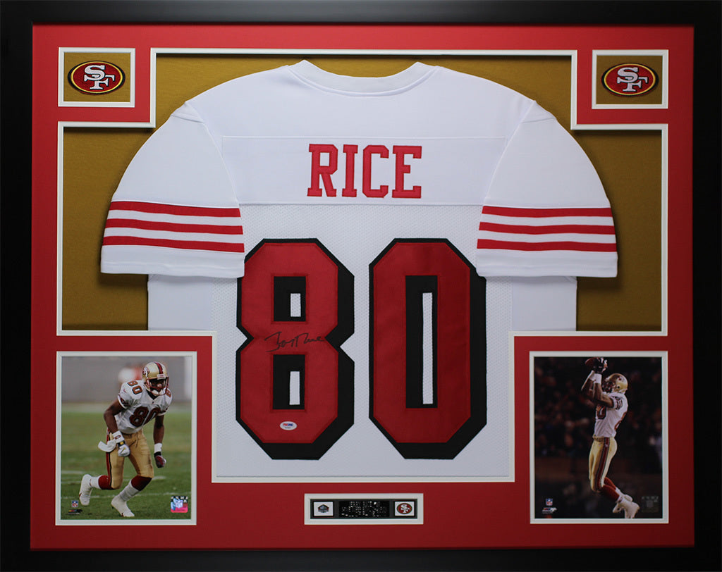 pretty nice 1d858 8ef90 Jerry Rice Autographed and Framed White 49ers Jersey Auto PSA COA D12-L
