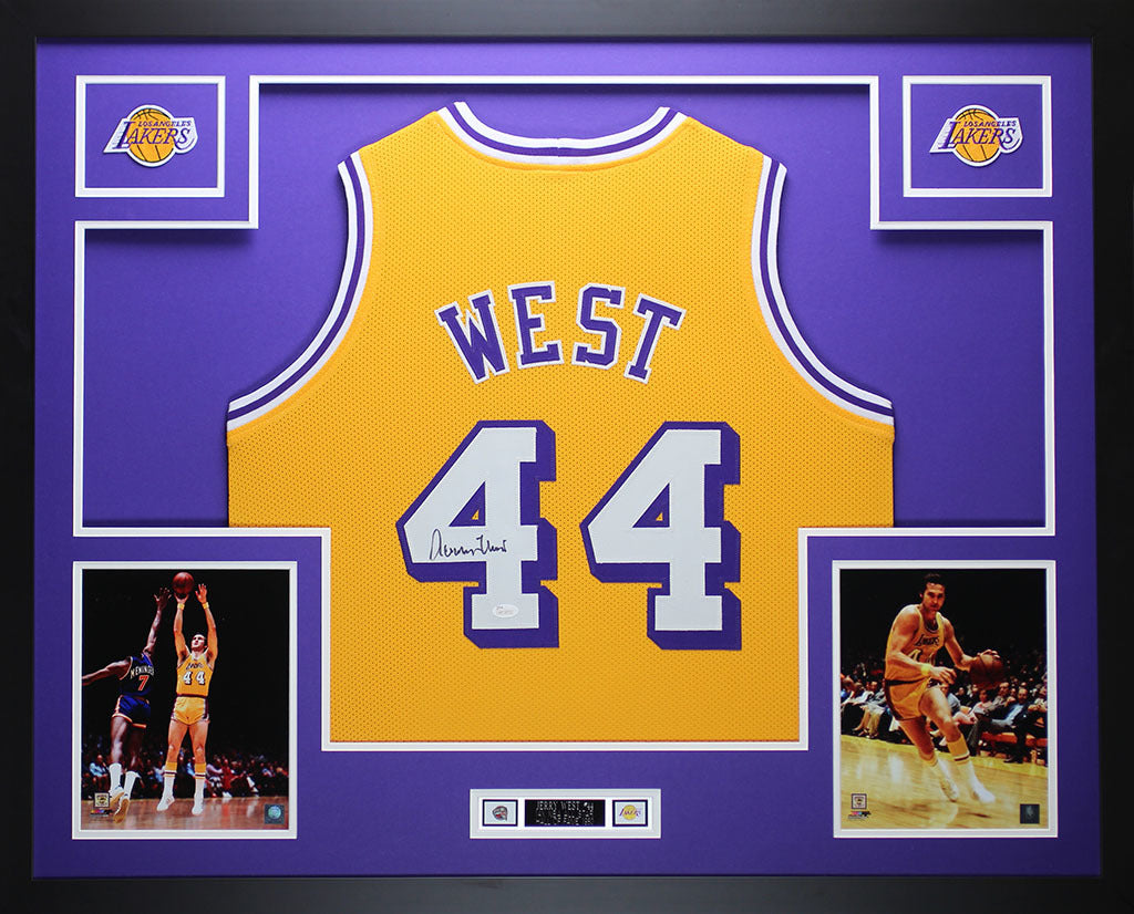 cbdd30f12c8a Jerry West Autographed and Framed Gold Lakers Jersey Auto JSA COA (D1- –  Super Sports Center
