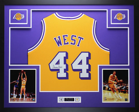 Jerry West Autographed and Framed Gold Lakers Jersey Auto JSA COA (D1-L) 1550a1747