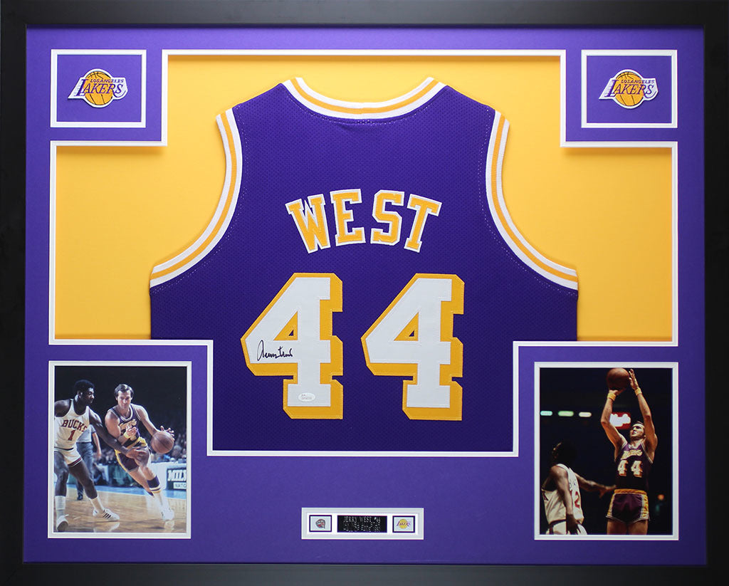 the best attitude 736e4 6ad4c Jerry West Autographed and Framed Purple Lakers Jersey Auto JSA COA (D2-L)