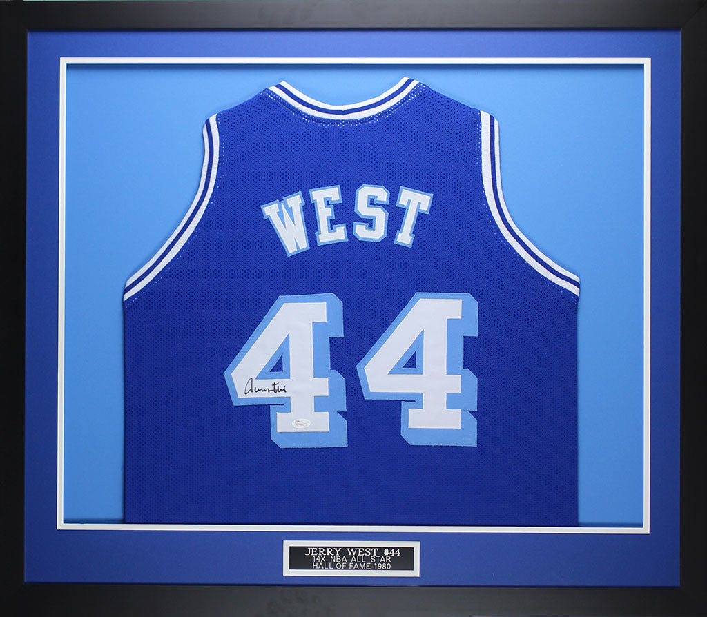 new concept c5e5b 03442 Jerry West Autographed & Framed Blue Throwback Lakers Jersey Auto JSA COA  (D2-M)