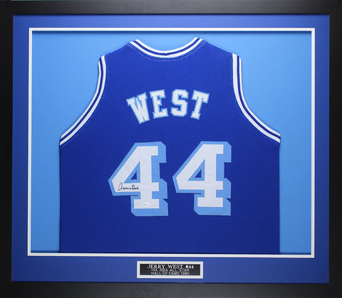 Jerry West Autographed   Framed Blue Throwback Lakers Jersey Auto JSA COA  (D2-M c8bf390e1