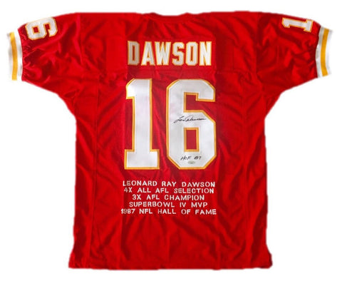 Len Dawson Autographed Red Pro Style Jersey With HOF- Tristar W Authenticated