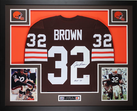 "Jim Brown Autographed ""HOF 71"" & Framed Brown Steelers Jersey Auto PSA COA D5-L"