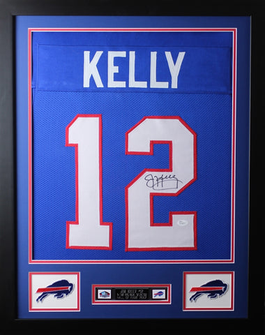 "Jim Kelly Framed and Autographed Blue Bills Jersey Auto JSA COA (24""x30"")"