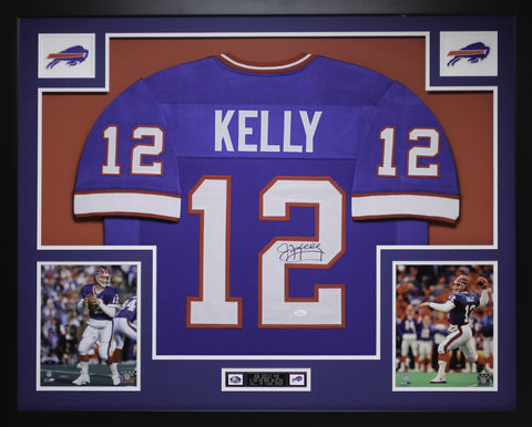 Jim Kelly Autographed and Framed Blue Bills Jersey JSA Certified
