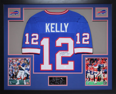 Jim Kelly Autographed and Framed Blue Bills Jersey Auto JSA Certified