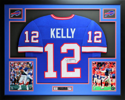 Jim Kelly Autographed and Framed Blue Bills Jersey Auto JSA Certified (Free Shipping !!)
