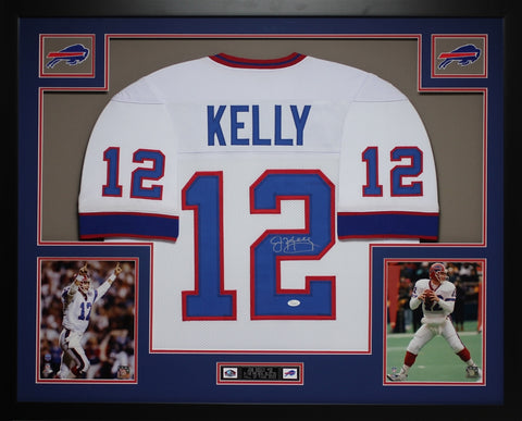 Jim Kelly Autographed and Framed White Bills Jersey Auto JSA COA (D4-L)