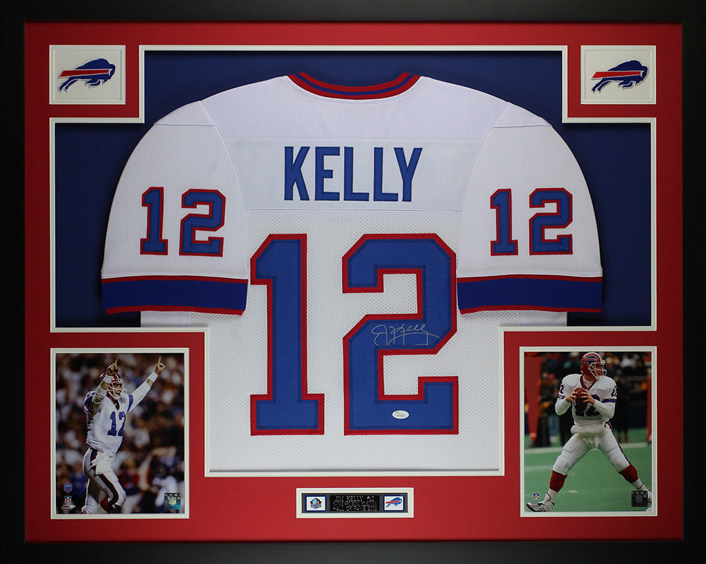 1a63b2bd557 Jim Kelly Autographed and Framed White Bills Jersey Auto JSA COA (D5-L –  Super Sports Center